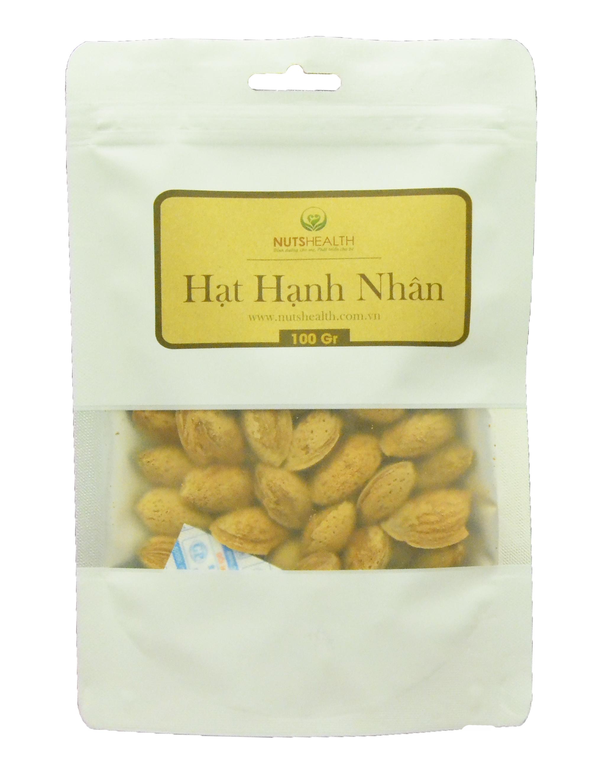 Hạt Hạnh Nhân còn vỏ ( Almond ) -bịch- 100g – Nutshealth