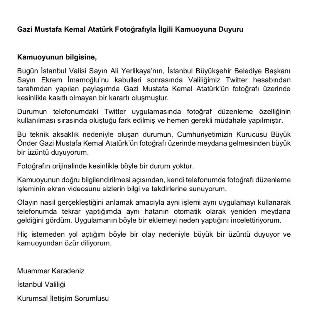 İstanbul Valiliği açıklama