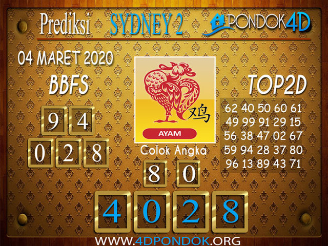 Prediksi Togel SYDNEY 2 PONDOK4D 04 APRIL 2020
