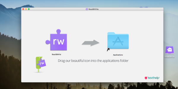 """New window with purple Read&Write jigsaw puzzle piece icon with an arrow pointing to the right towards a blue Applications folder with text below instructing """"Drag our beautiful icon into the application folder"""""""