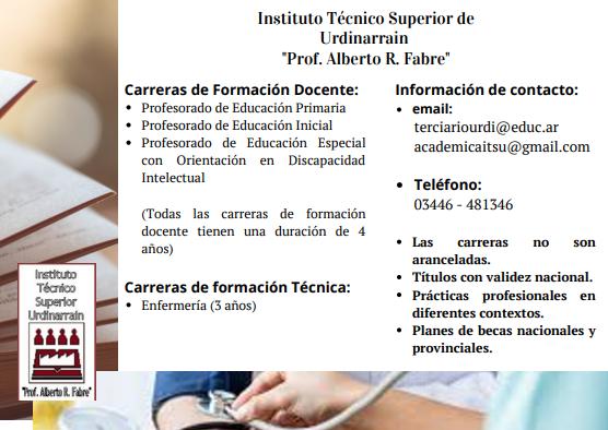 """Instituto Técnico Superior de Urdinarrain """"Prof. Alberto R.   Fabre"""""""