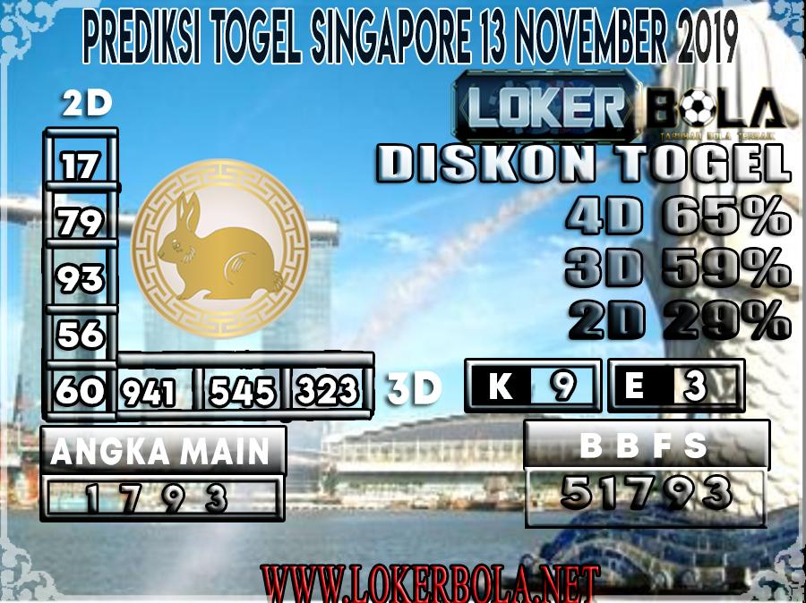 PREDIKSI TOGEL SINGAPORE LOKERBOLA 13 NOVEMBER 2019
