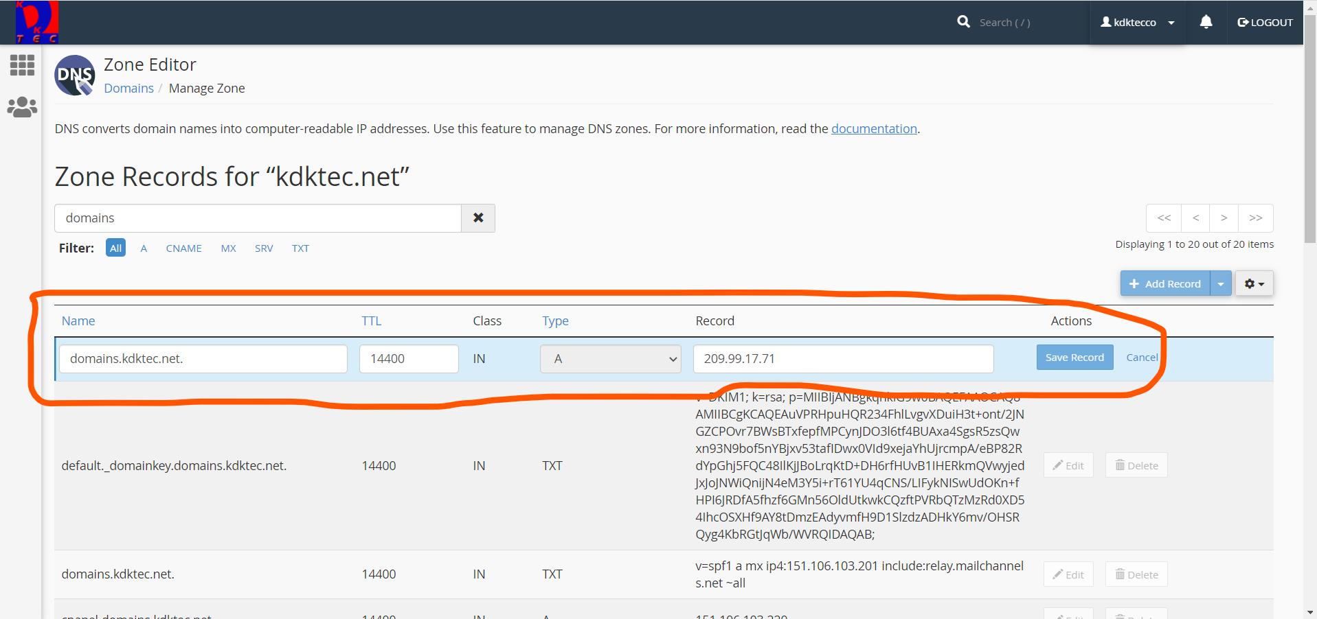 Screenshot of cPanel DNS Zone Editor Subdomain A Record Configuration