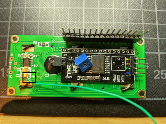 Desolder board and potentiometer, add missing components and a wire
