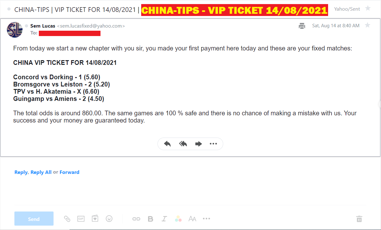 CHINA VIP TICKET FIXED MATCHES FOR 14/08/2021