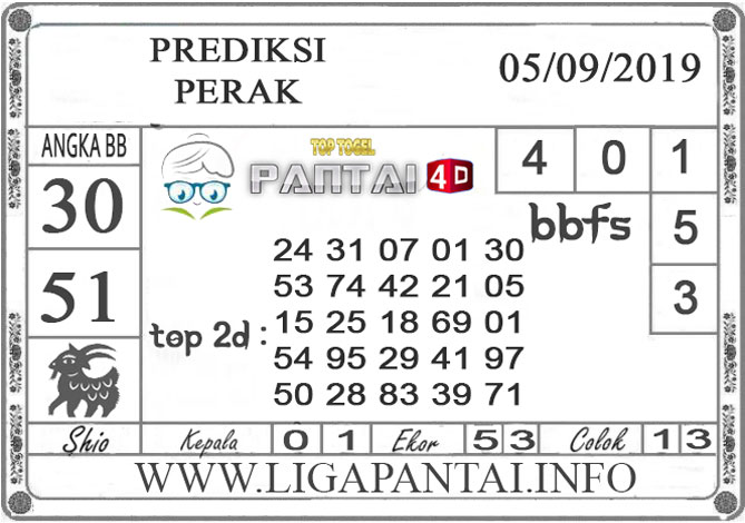 """PREDIKSI TOGEL """"PERAK"""" PANTAI4D 05 SEPTEMBER 2019"""