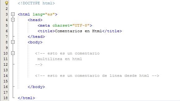 Explicación de los comentarios en HTML.