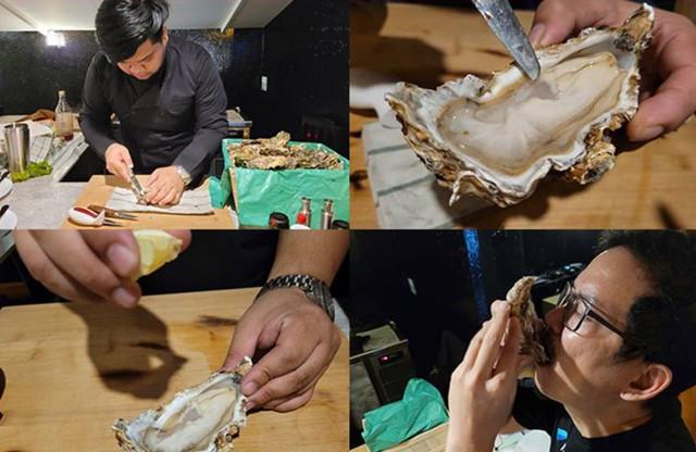 หอยนางรมแช่ไวน์ เสิร์ฟพร้อมไวน์ขาว สไตล์ 88 Oystercafe