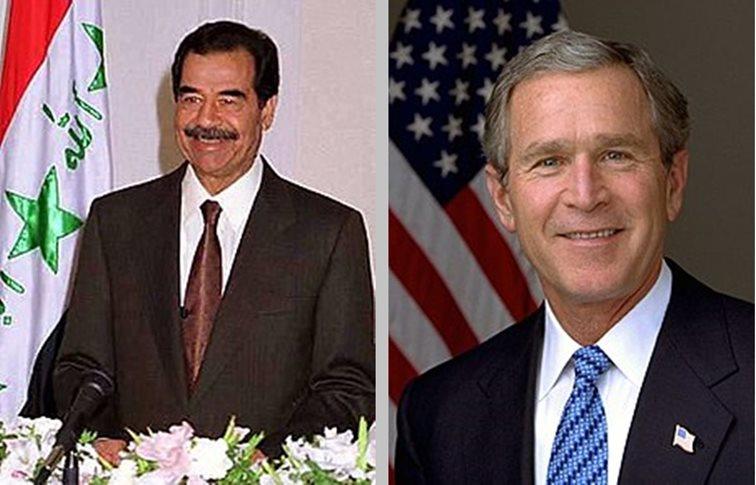 Sadam Hussein y George W. Bush