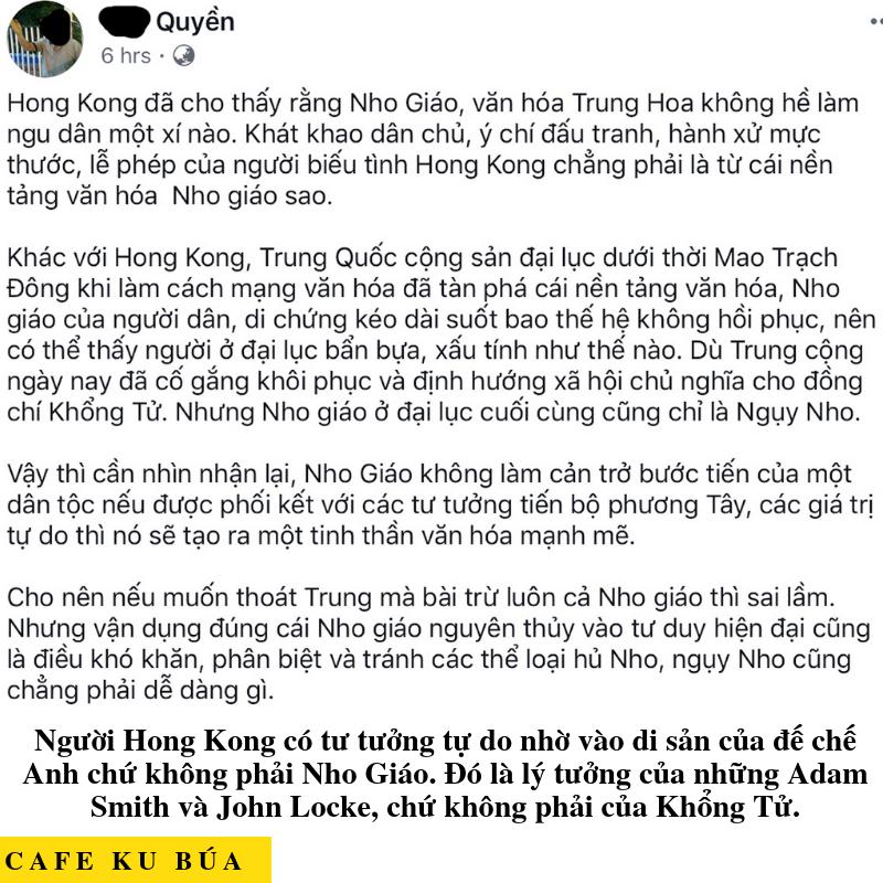 LÝ TƯỞNG CỦA HONG KONG – ANGLO-SAXON VS NHO GIÁO
