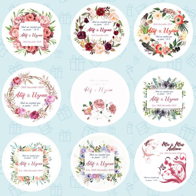 Personalised Wedding Celebration Stickers Labels GLOSS MATT in 24 /& 35
