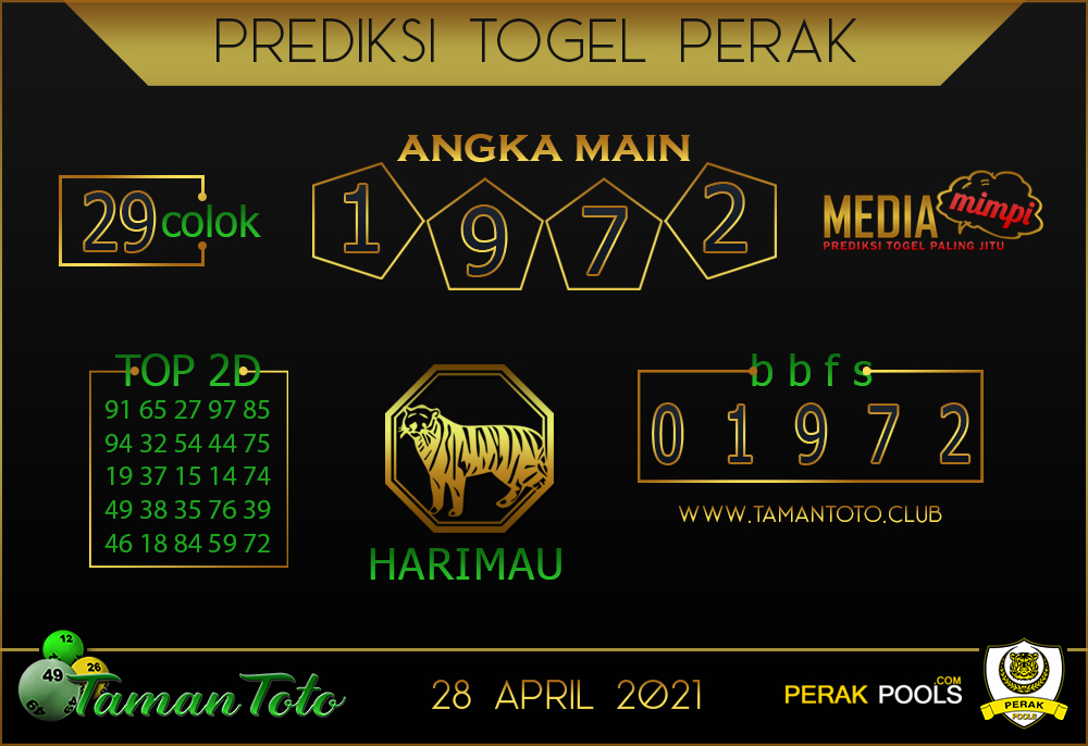 Prediksi Togel PERAK TAMAN TOTO 28 APRIL 2021