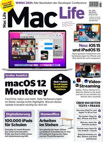 Cover: Mac Life Germany Magazin No 08 2021