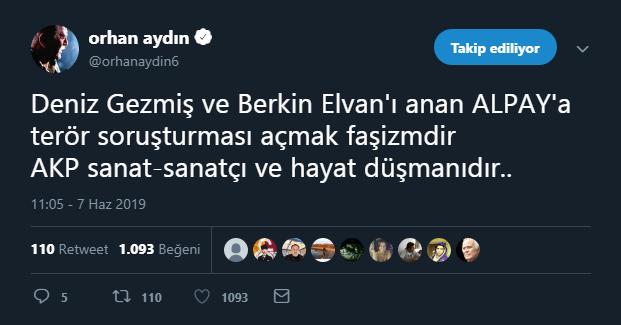 Orhan Aydın'dan Alpay'a destek