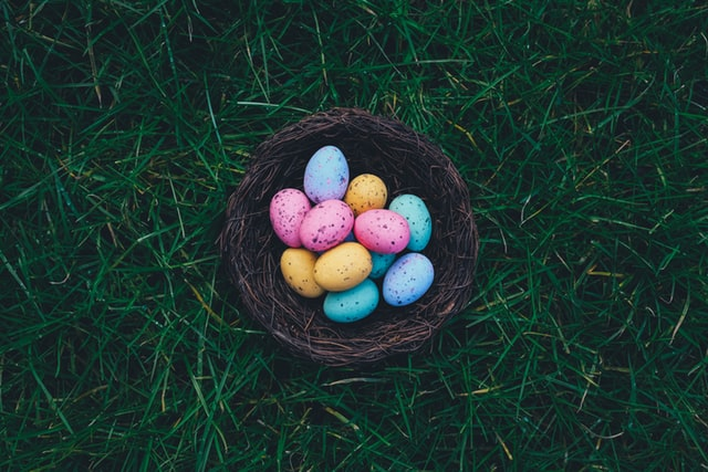 An image of Easter eggs in a nest.
