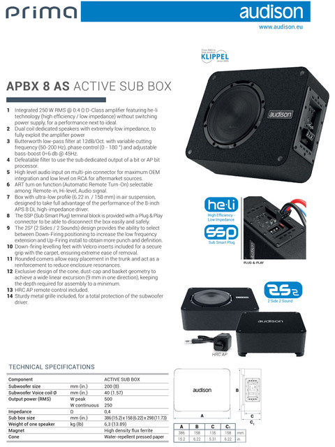 AUDISON-Prima-Technical-sheet-APBX-8-AS