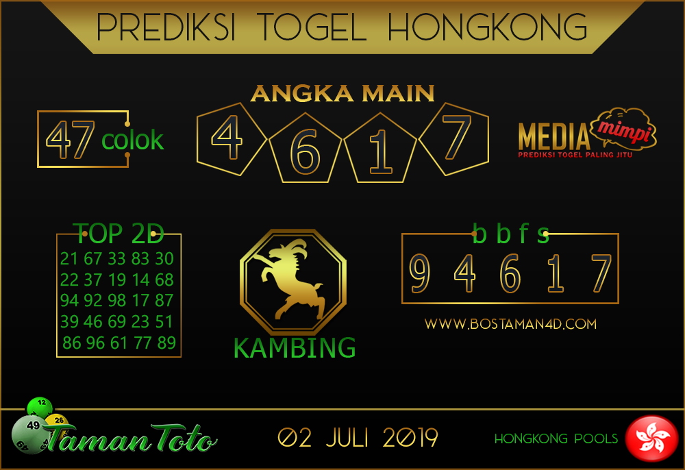 Prediksi Togel HONGKONG TAMAN TOTO 02 JULI 2019