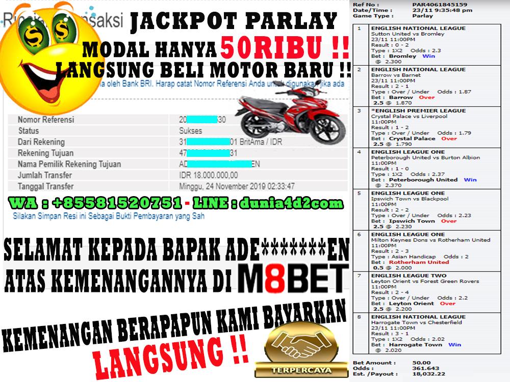 JACKPOT MODAL 50RIBU DAPAT 18JT HANYA DI DUNIA4D2!!