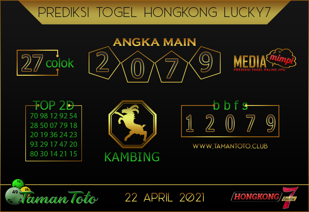 Prediksi Togel HONGKONG LUCKY 7 TAMAN TOTO 22 APRIL 2021