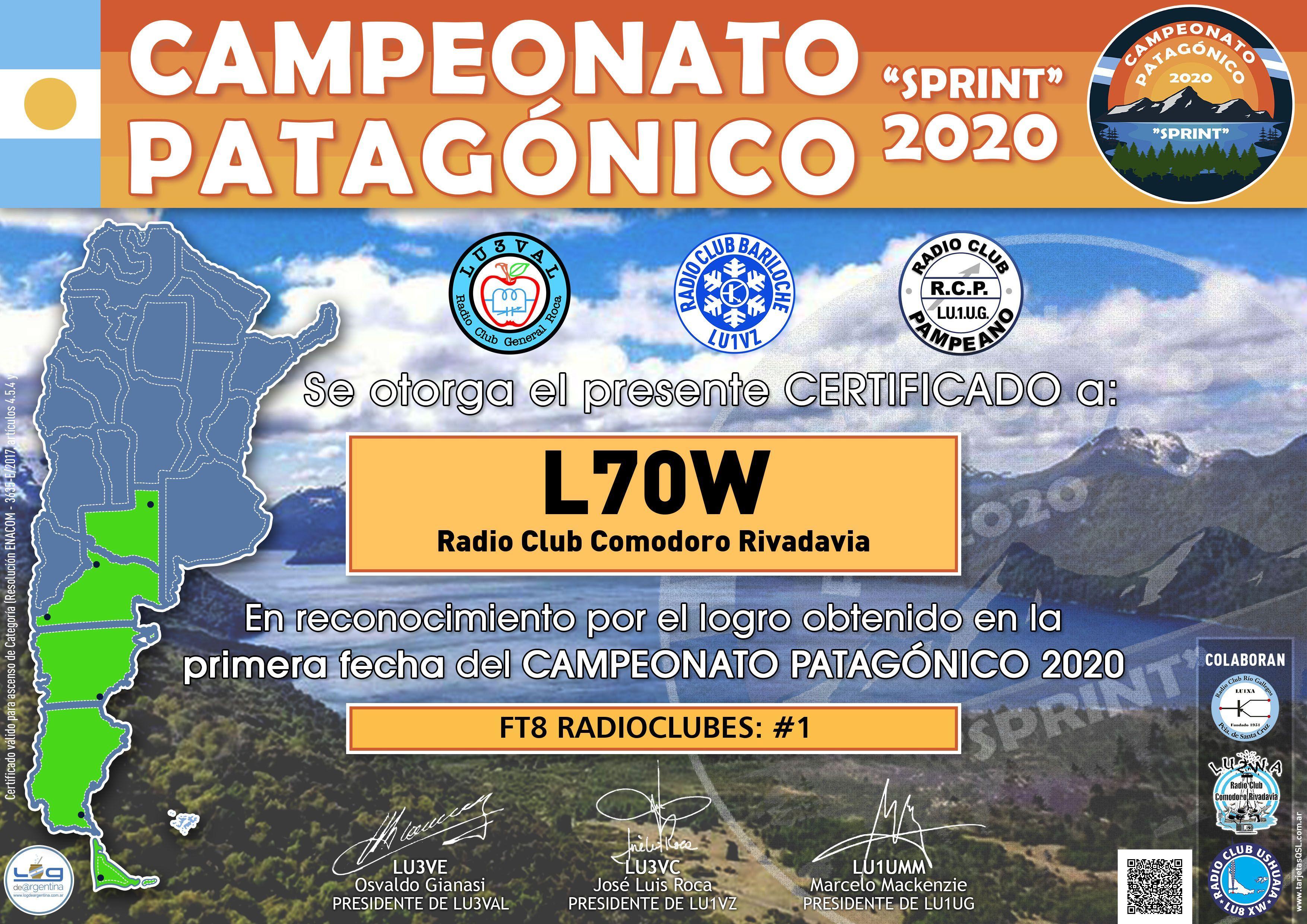 Resultados 1ra. Fecha Campeonato Patagónico 2020