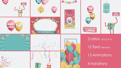 Birthday and Party Kit 32948415 - Project for After Effects (Videohive)
