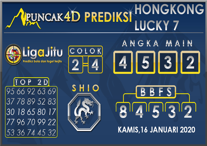 PREDIKSI TOGEL HONGKONG LUCKY7 PUNCAK4D 16 JANUARI 2020