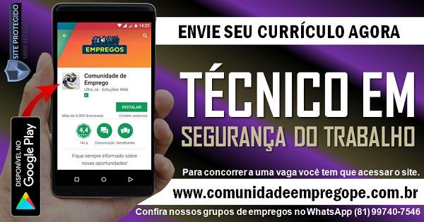 TÉCNICO EM SEGURANÇA DO TRABALHO COM SALÁRIO R$ 4174,26 PARA EMPRESA DE GÁS