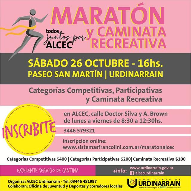 Maratón y caminata recreativa ALCEC sábado 26 de octubre