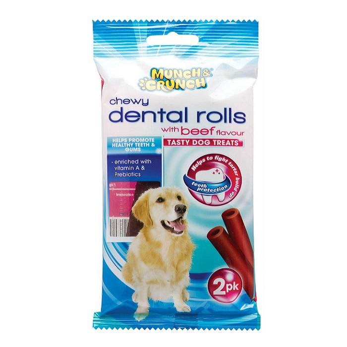 Munch Crunch Dog Chew Chewy Beef Dental Roll 2pk MC1080