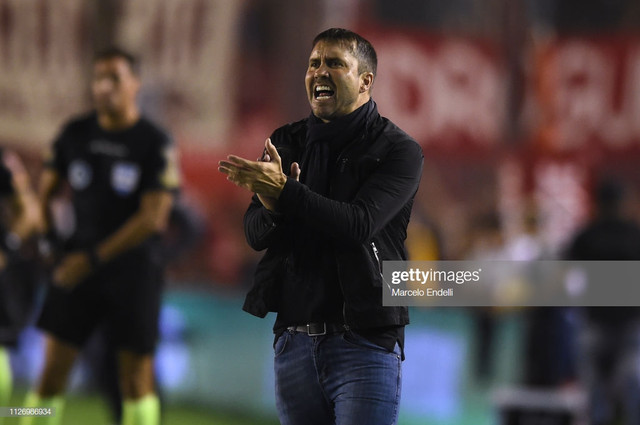AVELLANEDA-ARGENTINA-FEBRUARY-23-Eduardo-Coudet-coach-of-Racing-Club-gestures-during-a-match-between