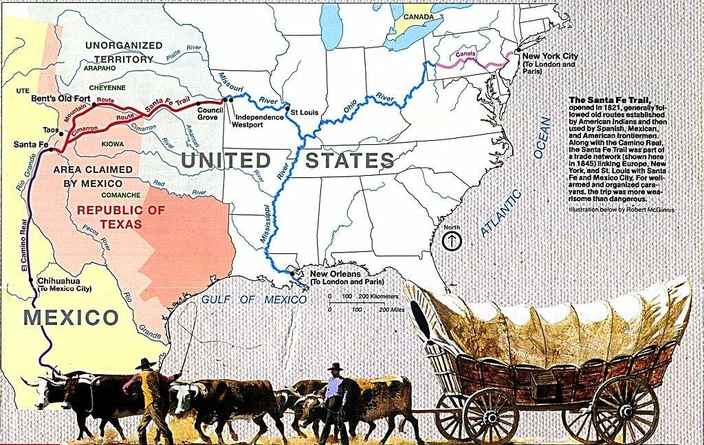 """Карта запада США с """"тропой Санта-Фе"""""""