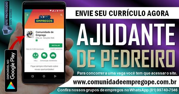 AJUDANTE DE PEDREIRO TEMPORÁRIO PARA EMPRESA EM JABOATÃO DOS GUARARAPES