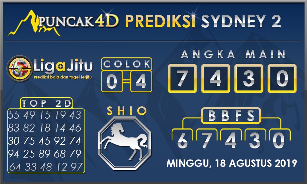 PREDIKSI TOGEL SYDNEY2 PUNCAK4D 18 AGUSTUS 2019