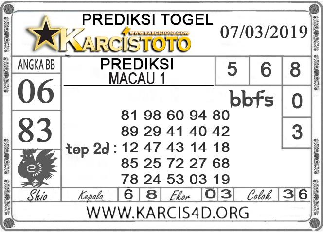 Prediksi Togel MACAU 1 KARCISTOTO 07 MARET 2019