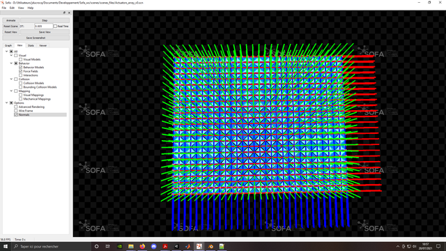 Top view of the normals, on the SOFA mesh