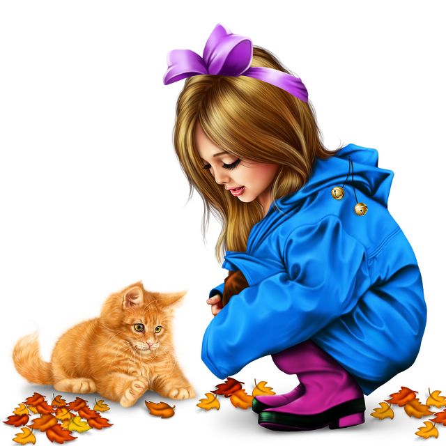 little girl in raincoat with a kitty png 23467eba85d25862c4.png