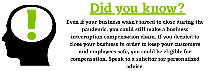 Business Interruption Insurance Claim during a pandemic