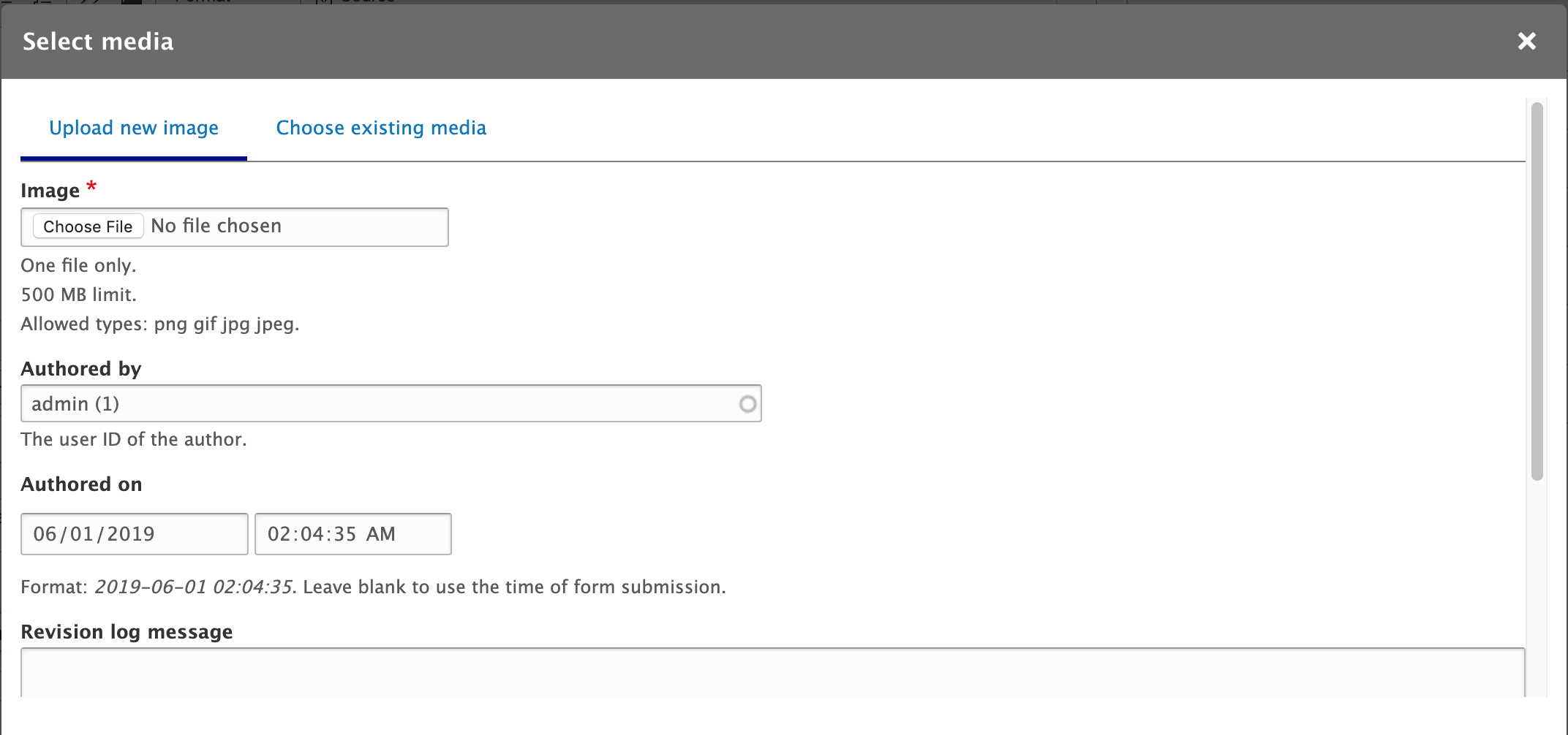 Drupal Entity browser media modal