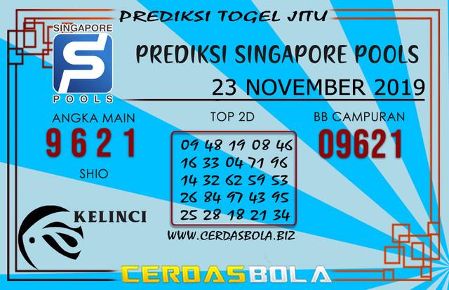 """Prediksi Togel """"SINGAPORE"""" CERDASBOLA 23 NOVEMBER 2019"""