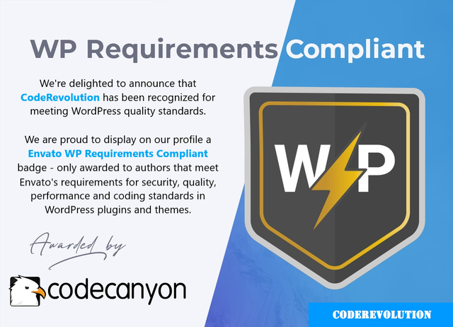 WP requirements Customizable badge