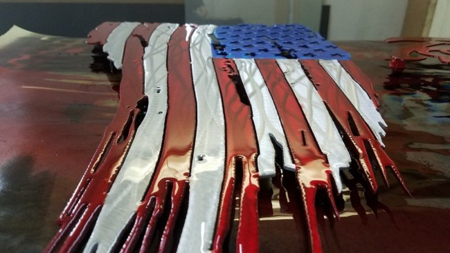 U.S FLAG TATTERED AND TORN METAL ART 2