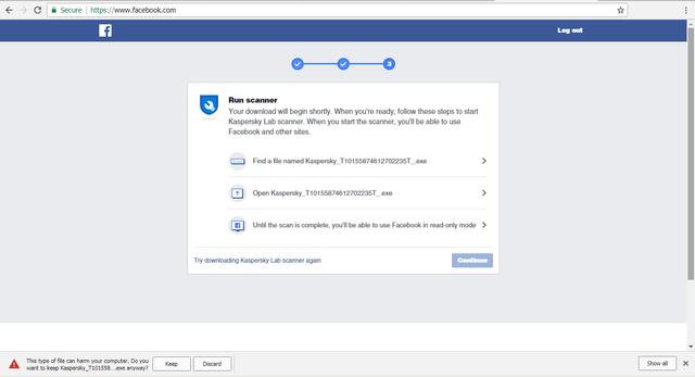 facebook force kaspersky run