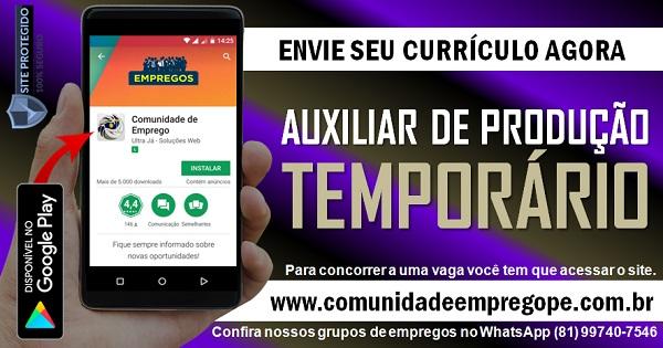 AUXILIAR DE PRODUÇÃO PARA EMPRESA DE TERCEIRIZAÇÃO DE SERVIÇOS EM PAULISTA