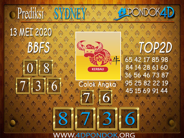 Prediksi Togel SYDNEY PONDOK4D 13 MEI 2020
