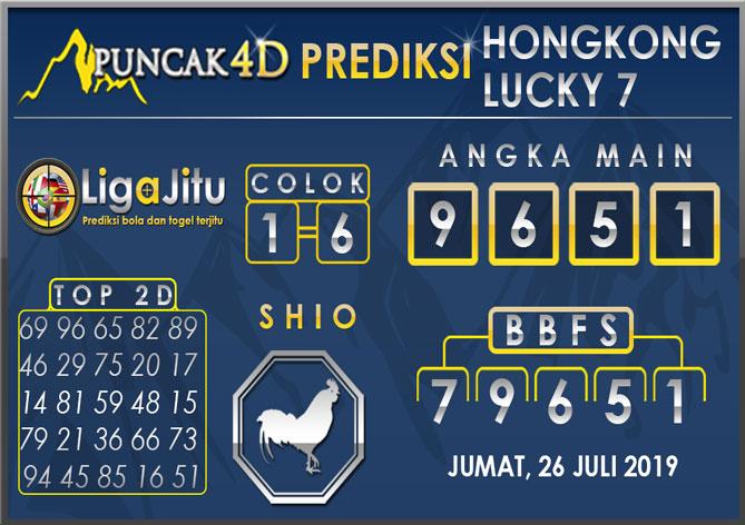 PREDIKSI TOGEL HONGKONG LUCKY7 PUNCAK4D 26 JULI 2019