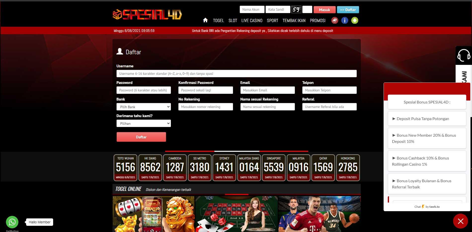daftar live casino online spesial4d
