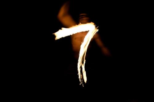 An image of a fiery 7