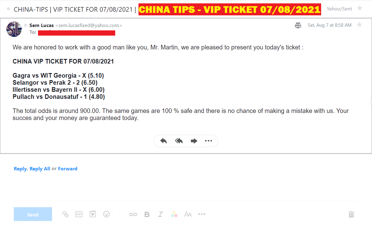 CHINA VIP TICKET FOR 07/08/2021 | CHINA BEST COMBINED FIXED MATCHES
