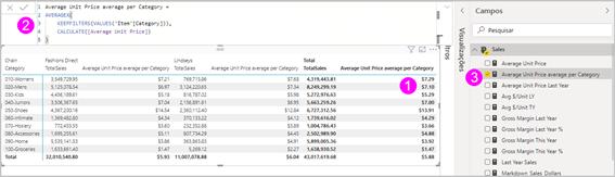 Nova medida rápida no visual, barra de fórmulas e lista de campos