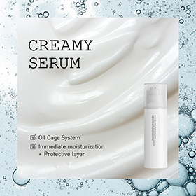Moisturizing serum that creates an oil cage system which provides direct moisturization to the skin while forming a protective layer over the skin to prevent moisture loss.